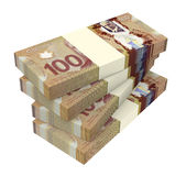 Canadees die dollarsgeld op witte achtergrond wordt geïsoleerd Stock Foto's