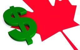 Canadees esdoornblad en dollarteken royalty-vrije illustratie