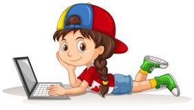 Canadees meisje die laptop met behulp van vector illustratie