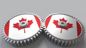 Canadees nationaal project Vlaggen van Canada bij het bewegen van tandraderen Het conceptuele 3d teruggeven royalty-vrije illustratie