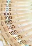 Canadense cem contas de dólar Imagens de Stock Royalty Free