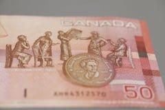 Canadense 50 dólares de cédula Foto de Stock Royalty Free