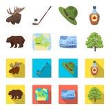 Canadese dollar, de kaart van het grondgebied en andere symbolen van het land Vastgestelde de inzamelingspictogrammen van Canada  Royalty-vrije Stock Fotografie