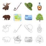 Canadese dollar, de kaart van het grondgebied en andere symbolen van het land Vastgestelde de inzamelingspictogrammen van Canada  Stock Foto
