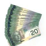 Canadese fuori smazzato venti fatture del dollaro Fotografia Stock Libera da Diritti