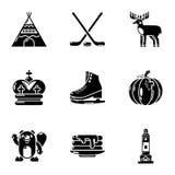 Canadese geplaatste pictogrammen, eenvoudige stijl Royalty-vrije Stock Foto