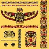 Canadese inheemse kunstelementen in vector stock illustratie