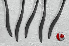 Canadese puck en vijf hockeystokken Stock Afbeelding