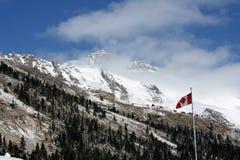 Canadese Rotsachtige bergen met vlag Stock Afbeeldingen