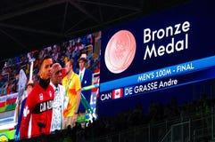 Canadese sprinter Andre de Grasse bij Rio2016 Stock Fotografie