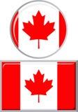 Canadese in tondo e bandiera quadrata dell'icona Vettore Fotografie Stock Libere da Diritti