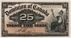 Canadese venticinque centesimi - soldi di carta dell'annata Fotografie Stock Libere da Diritti