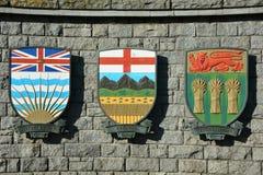 Canadese wapenschilden voor Alberta en BC en Saskatchewan Royalty-vrije Stock Foto