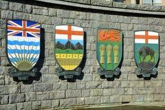 Canadese wapenschilden voor Alberta en BC en Saskatchewan en Manitoba Stock Afbeeldingen
