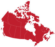 Canada Map (separable by province). Vector red map of Canada with state boundaries, isolated on white background Royalty Free Stock Photos