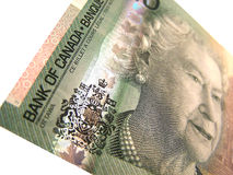 Canadian 20. Closeup of the corner of a 20 dollar bill stock image