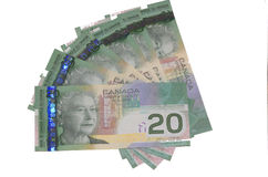 Canadian $20 bills Royalty Free Stock Photos