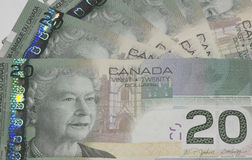 Canadian $20 bills. Canadian 20 dollar bills fanned