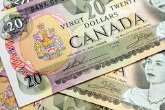 Canadian $20 bills Stock Photo