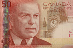 Canadian 50 dollar bill corner. Top left corner of a Canadian 50 dollar bill royalty free stock photography