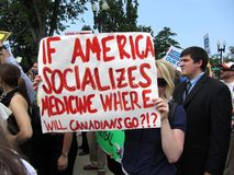 Canadian Against Obamacare. Photo of canadian woman against obamacare at the supreme court in washington dc on 6/28/12.  Canada has had socialized medical care Stock Image