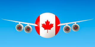 Canadian airlines and flying`s, flights to Canada concept. 3D re Royalty Free Stock Photos