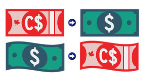 Canadian and American Dollar Exchange rate Royalty Free Stock Photo