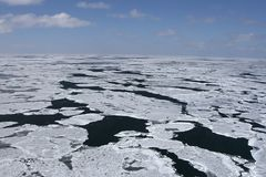 Canadian Arctic. Aerial view of the packice in the Canadian Arctic Royalty Free Stock Photos