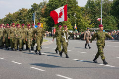 Canadian Armed Forces parade. WARSAW, POLAND - AUGUST 15, 2014: Canadian Armed Forces during the parade. Polish Armed Forces Day. Over 1200 Polish and over 90 Royalty Free Stock Images