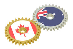 Canadian and Australian flags on a gears, 3D rendering Stock Photos