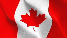 Canada flag waving on wind. Canadian background fullscreen flag blowing on wind. Realistic fabric texture on windy day Royalty Free Stock Images