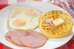 Canadian bacon and waffles Stock Photography