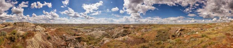 Canadian badlands panorama. Panoramic view in Dinosaur Provincial Park, Alberta, Canada stock image