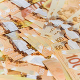 Canadian banknotes. Background made up of Canadian banknotes Royalty Free Stock Photo