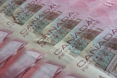 Canadian banknotes of the same value Royalty Free Stock Image