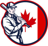 Canadian Baseball Batter Canada Flag Circle Stock Image