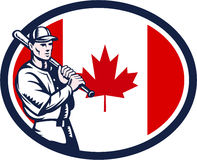 Canadian Baseball Batter Canada Flag Retro Royalty Free Stock Photo
