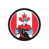 Canadian Baseball Pitcher Canada Flag Icon Stock Photos