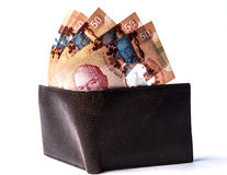 Canadian bills on wallet Stock Image