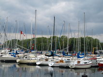 Canadian Boat Yard. A Canadian Boat Yard on a stormy day royalty free stock photos