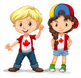 Canadian boy and girl smiling Stock Photo