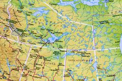 Canadian Canada map atlas. Northwest Territory Canada road highway country map travel Alberta North America Saskatchewan trip vacation atlas mountains stock photo