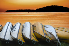 Canadian canoes at sunset Stock Image