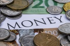 Canadian Cash with the Word Money in the Middle.  royalty free stock image