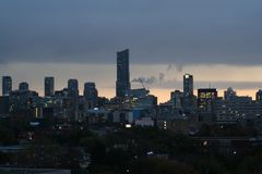 A Canadian city later in the evenin. Traveling through a Toronto Ont. a city at the end of the day Stock Photos