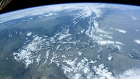 Calgary from space. Satellite`s POV. Canadian city seen from satellite. Nasa Public Domaine Imagery. Lands and mountains stock video