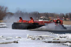 Canadian Coast Guard Ice Breaking Hovercraft. This SIPU MUIN Canadian Coast Guard Ice Breaking Hovercraft. This particular Hovercraft was deployed on the East Stock Photo