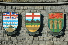Canadian coats of arms for Alberta and BC.and Saskatchewan . British Columbia, Alberta, Saskatchewan  coat of arms Royalty Free Stock Photo