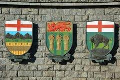 Canadian coats of arms for  Saskatchewan , Manitoba, and Alberta. British Columbia, Alberta, Saskatchewan, Yukon, Manitoba and Ontario  coat of arms Stock Photo