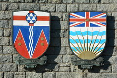 Canadian coats of arms for Yukon And BC. Royalty Free Stock Photos